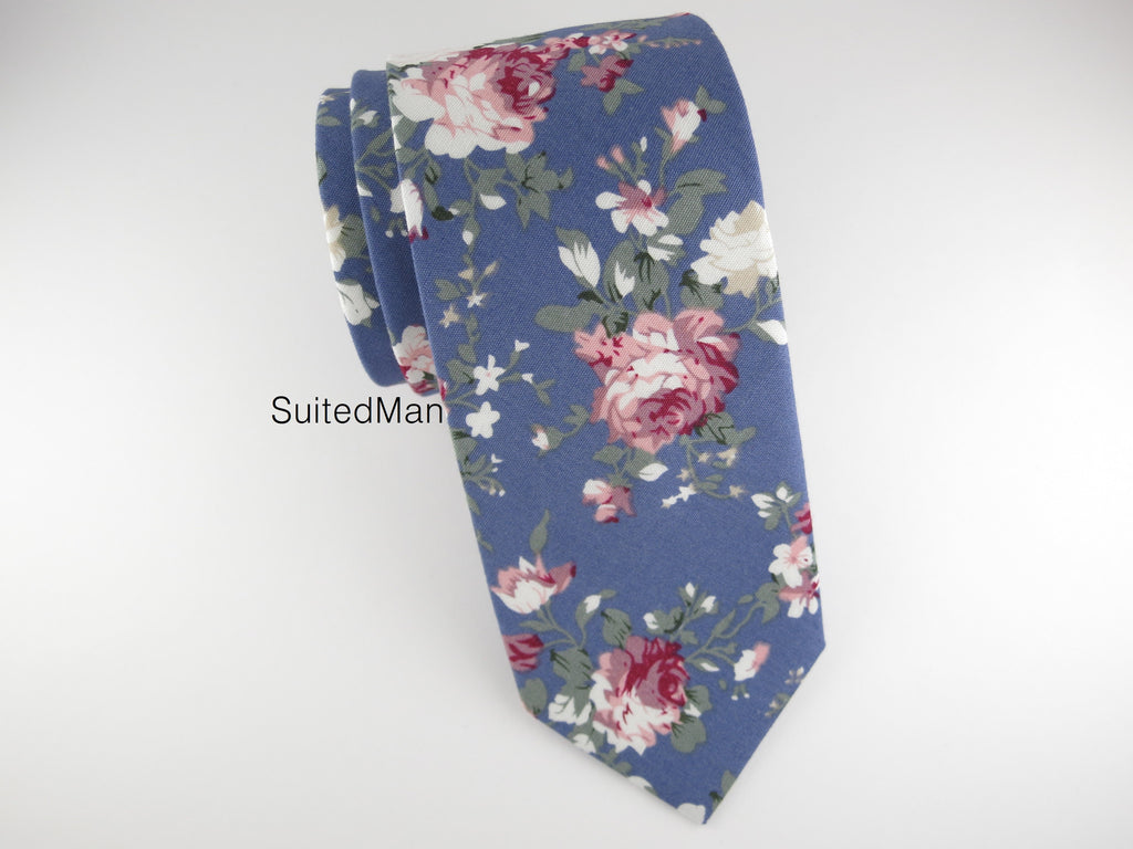 Floral Tie, Blue Peach Rose - SuitedMan