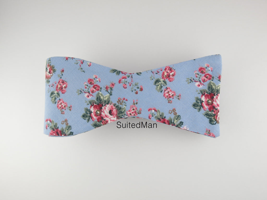 Floral Bow Tie, Blue Vintage Bloom, Flat End - SuitedMan