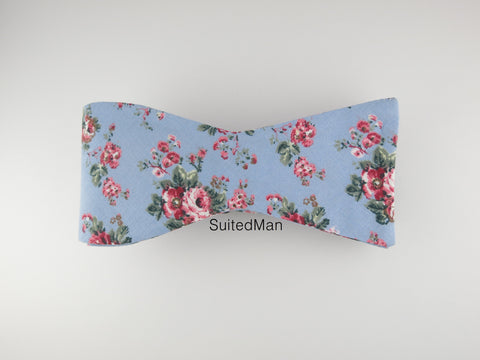 Floral Bow Tie, Blue Vintage Bloom, Flat End