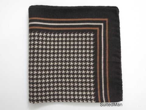 Pocket Square, Houndstooth, Mocha Chocolate - SuitedMan