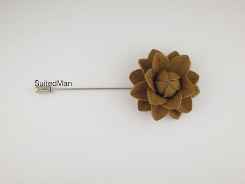 Lapel Flower, Leather Starflower, Nutmeg - SuitedMan