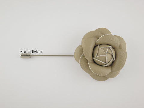 Lapel Flower, Leather Camellia, Sand
