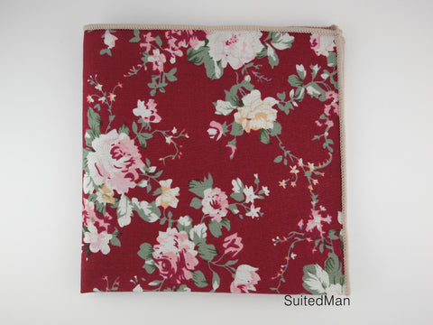 Pocket Square, Burgundy Peach Floral - SuitedMan