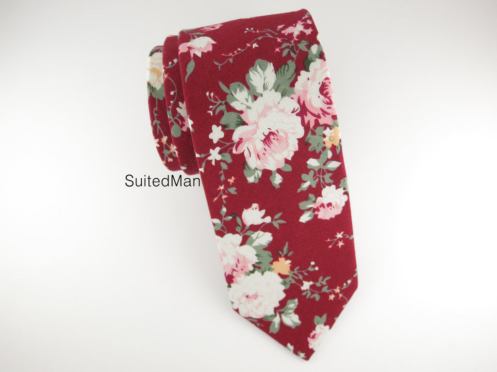 Floral Tie, Burgundy Peach Rose - SuitedMan