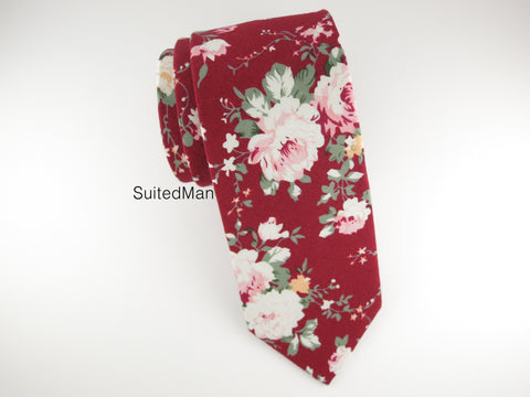 Floral Tie, Burgundy Peach Rose