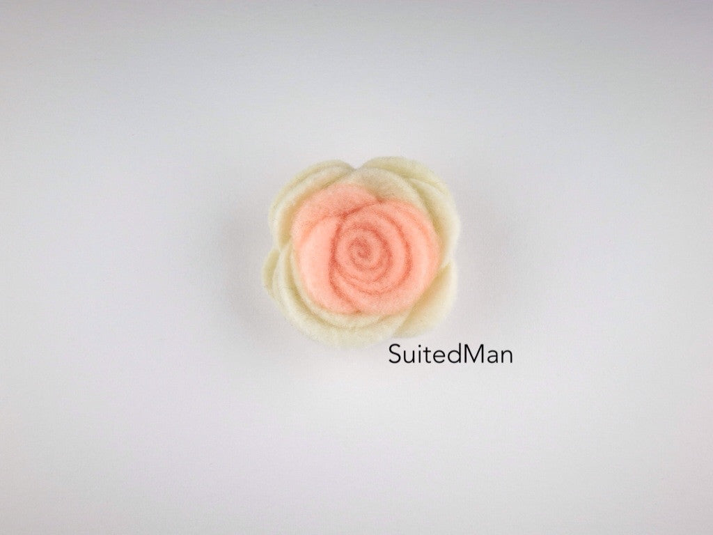 Lapel Flower, Felt, Colorblock, Cream/Peach (Limited) - SuitedMan