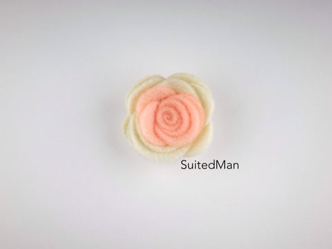 Lapel Flower, Felt, Colorblock, Cream/Peach (Limited)