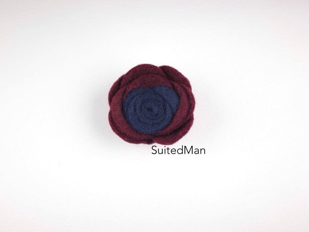 Lapel Flower, Felt, Colorblock, Brandy/Midnight Blue - SuitedMan