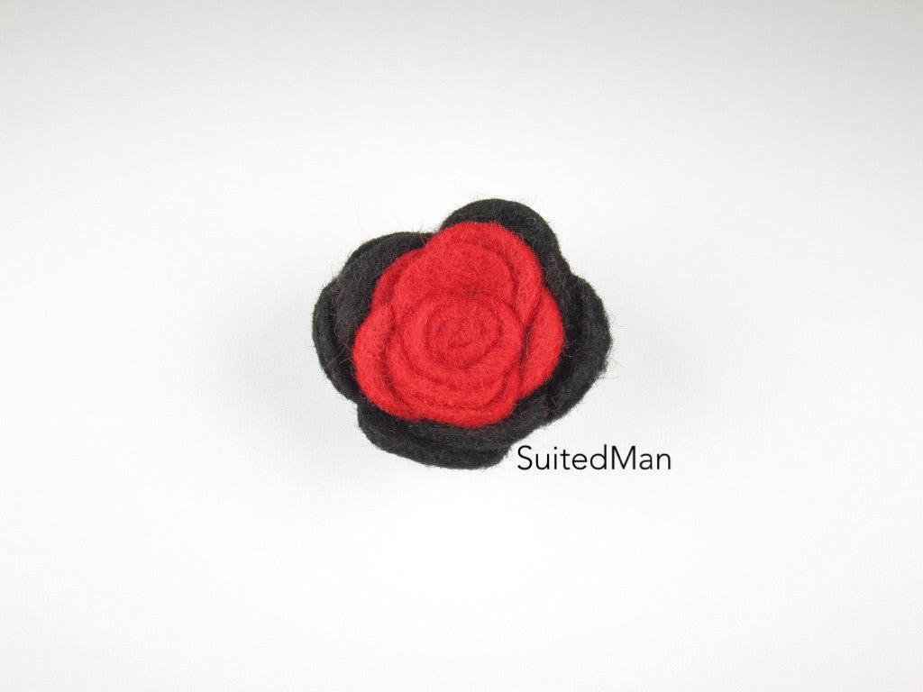 Lapel Flower, Felt, Colorblock, Black/Red - SuitedMan