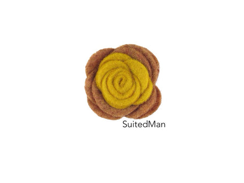 Lapel Flower, Felt, Colorblock, Shades of Autumn - SuitedMan