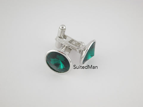 Crystal Cufflinks with Silver Trim, Emerald
