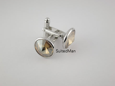 Crystal Cufflinks with Silver Trim, Opaque Canary