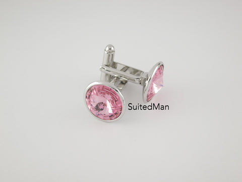 Crystal Cufflinks with Silver Trim, Rose - SuitedMan