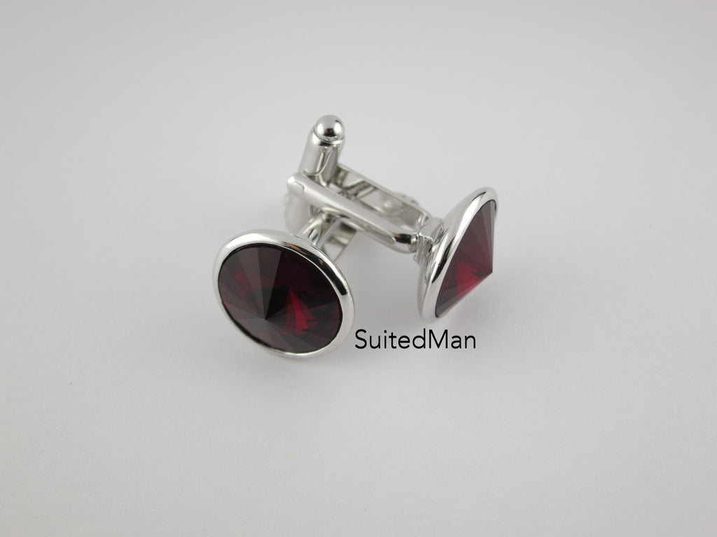 Crystal Cufflinks with Silver Trim, Ruby - SuitedMan