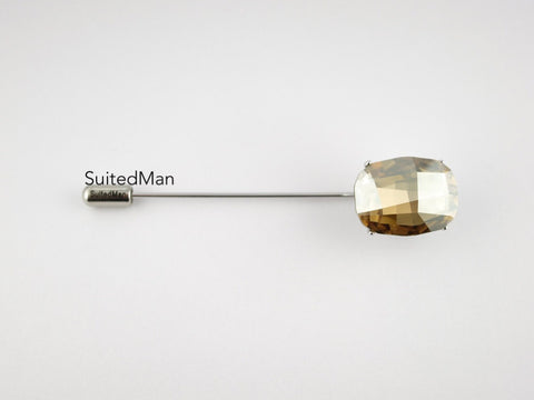 Crystal Lapel Pin, Opaque Canary - SuitedMan
