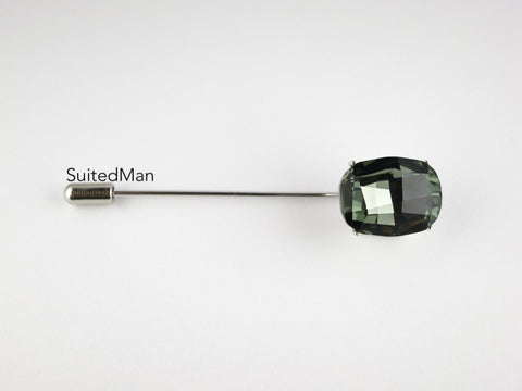 Crystal Lapel Pin, Smoke Diamond - SuitedMan