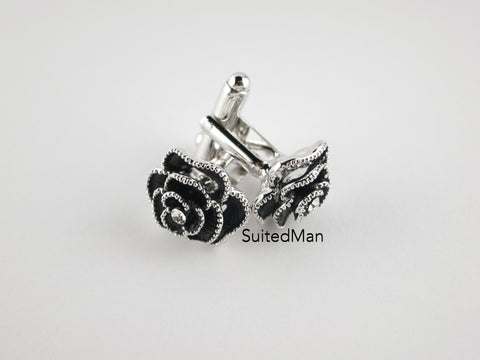 Crystal Rose Cufflinks, Onyx - SuitedMan