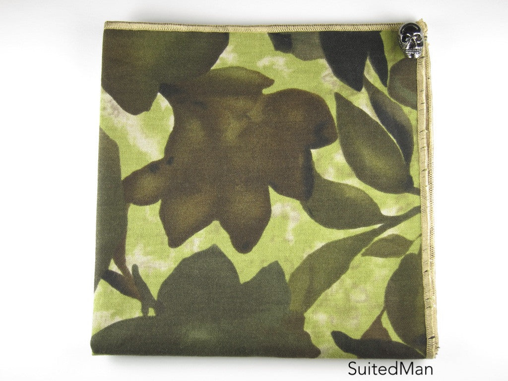 Pocket Square, Floral Camo with Slate Skull Pin Combo - SuitedMan