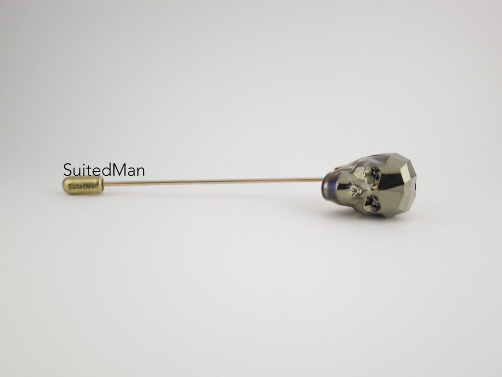 Crystal Skull Lapel Pin, Vintage Gold - SuitedMan
