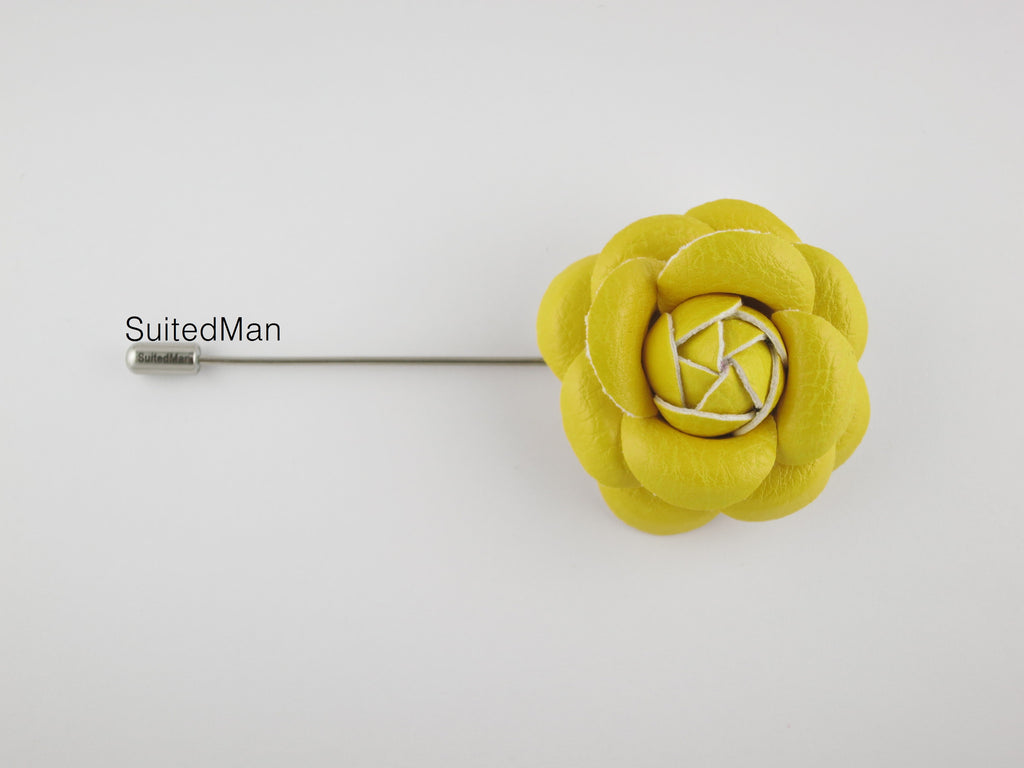 Lapel Flower, Leather Camellia, Canary Yellow - SuitedMan