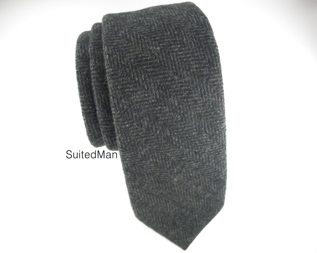 Tie, Wool, Charcoal Herringbone - SuitedMan