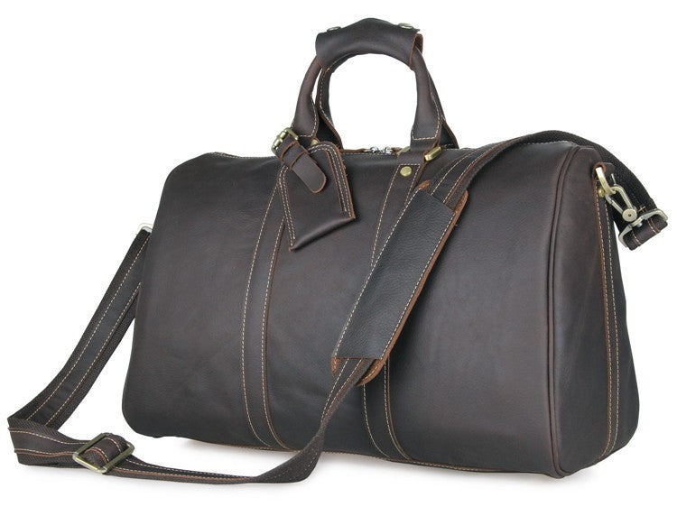 SuitedMan Travel Bag, Vintage Chocolate Leather - SuitedMan