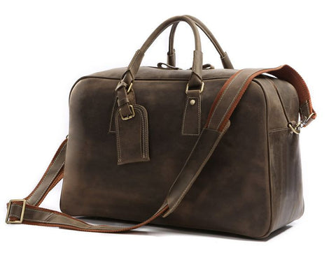 SuitedMan Travel Bag, Vintage Camel Leather - SuitedMan