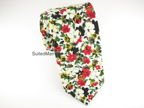 Floral Tie, Daisy, Red/White - SuitedMan
