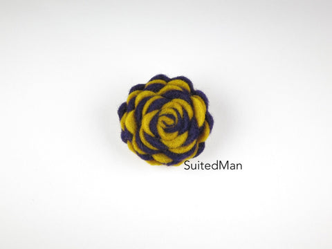 Lapel Flower, Felt, Two Tone, Old Gold/Deep Purple Colorway - SuitedMan