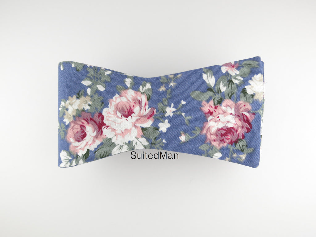 Floral Bow Tie, Blue Peach Rose, Flat End - SuitedMan