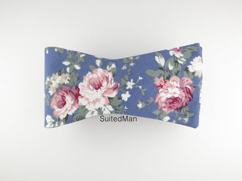 Floral Bow Tie, Blue Peach Rose, Flat End