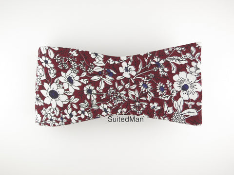 Floral Bow Tie, Burgundy/Navy Floral, Flat End