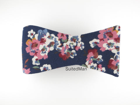 Floral Bow Tie, Navy Poppy, Flat End
