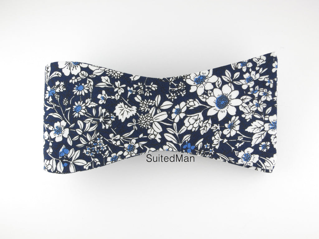 Floral Bow Tie, Navy/White Floral, Flat End - SuitedMan