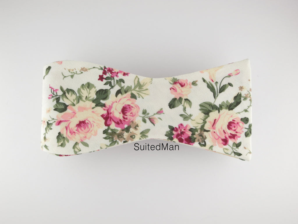 Floral Bow Tie, Vintage Peach Bloom, Flat End - SuitedMan
