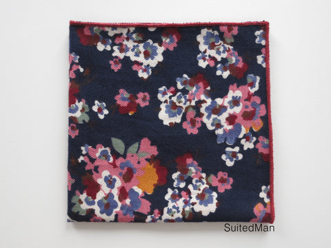 Pocket Square, Navy Poppy - SuitedMan