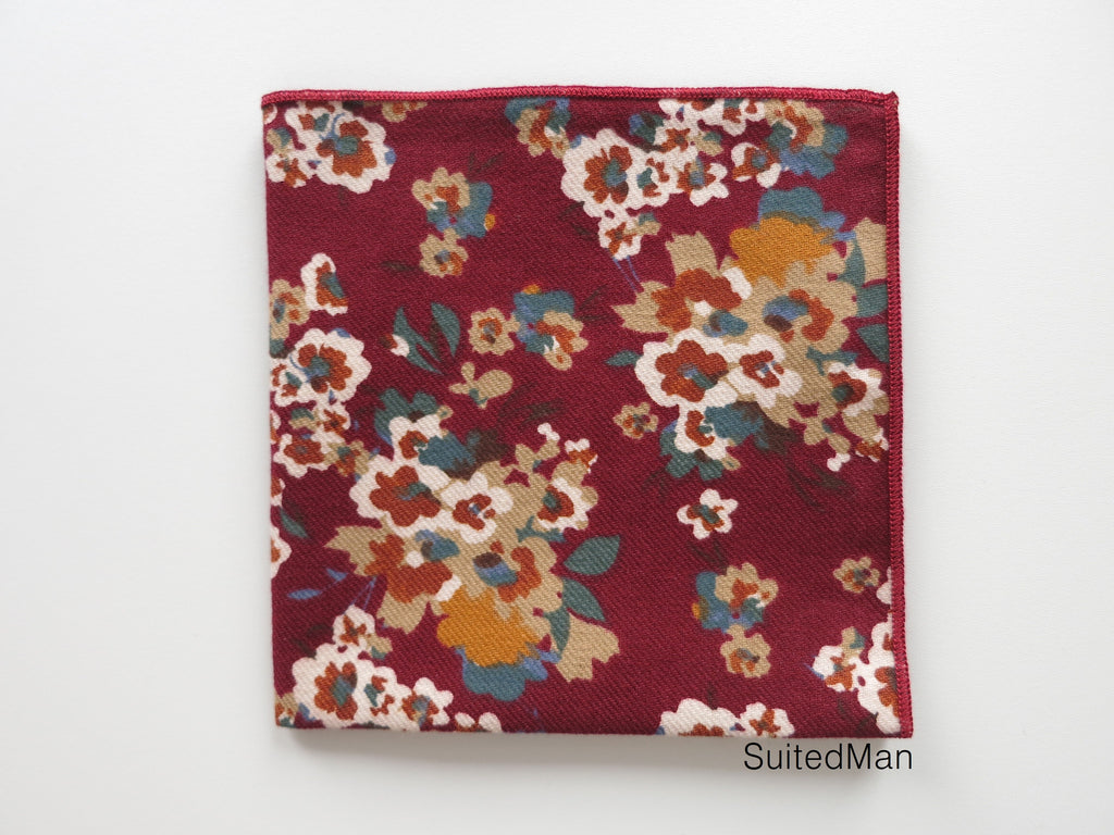 Pocket Square, Burgundy Poppy - SuitedMan
