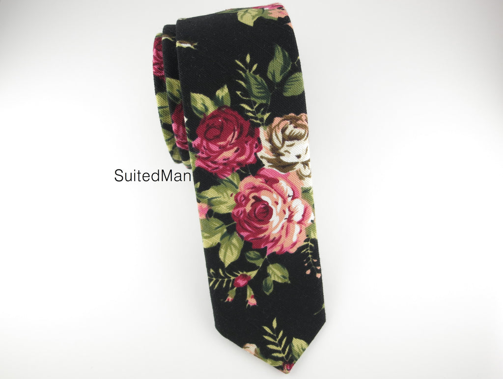 Floral Tie, Rose Noir en Bloom - SuitedMan