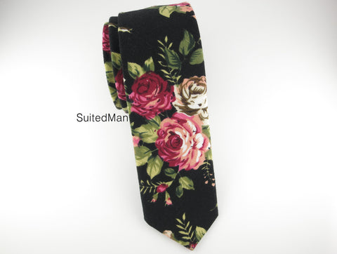 Floral Tie, Rose Noir en Bloom