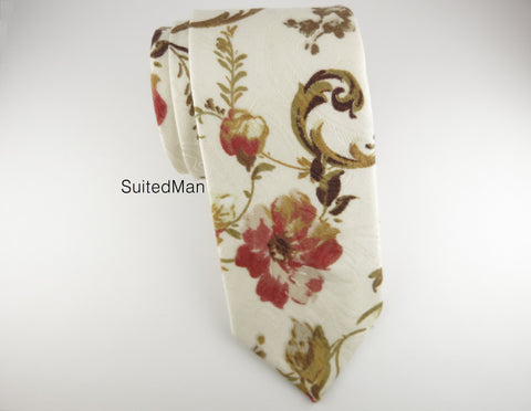 Floral Tie, Autumn Scroll