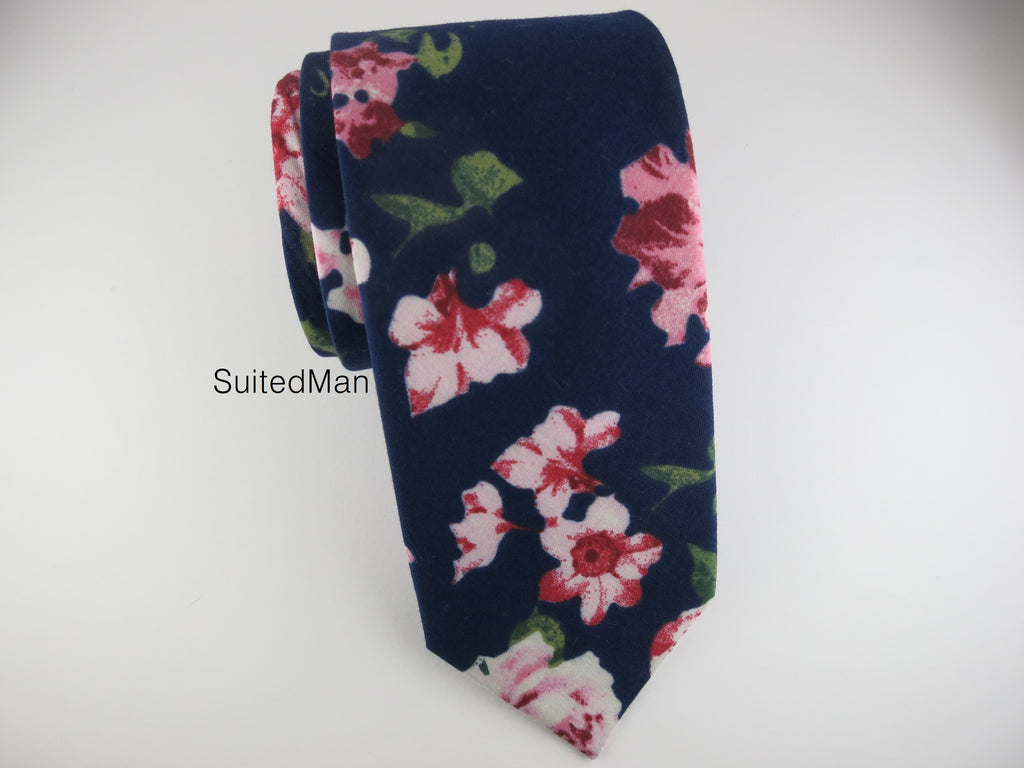 Floral Tie, Navy en Rose - SuitedMan