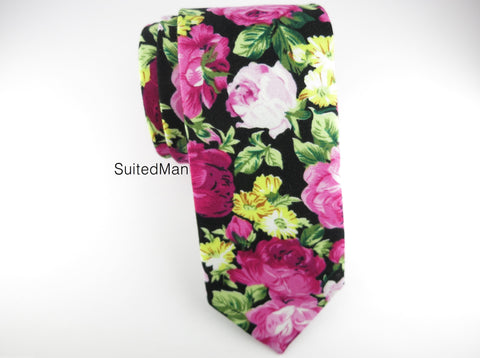 Floral Tie, Red Fuchsia