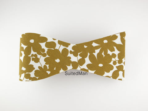 Floral Bow Tie, Gold Petals, Flat End - SuitedMan