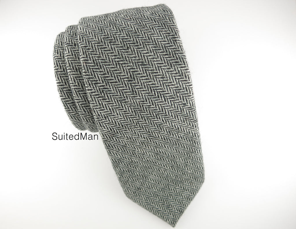 Tie, Wool, Gray Herringbone - SuitedMan