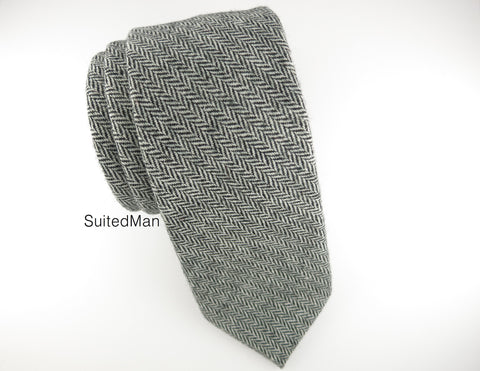 Tie, Wool, Gray Herringbone