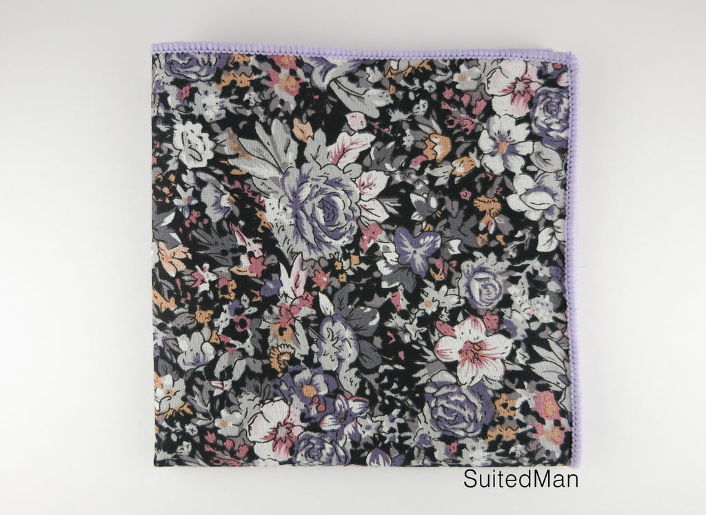 Pocket Square, Gray Lavender Rose - SuitedMan