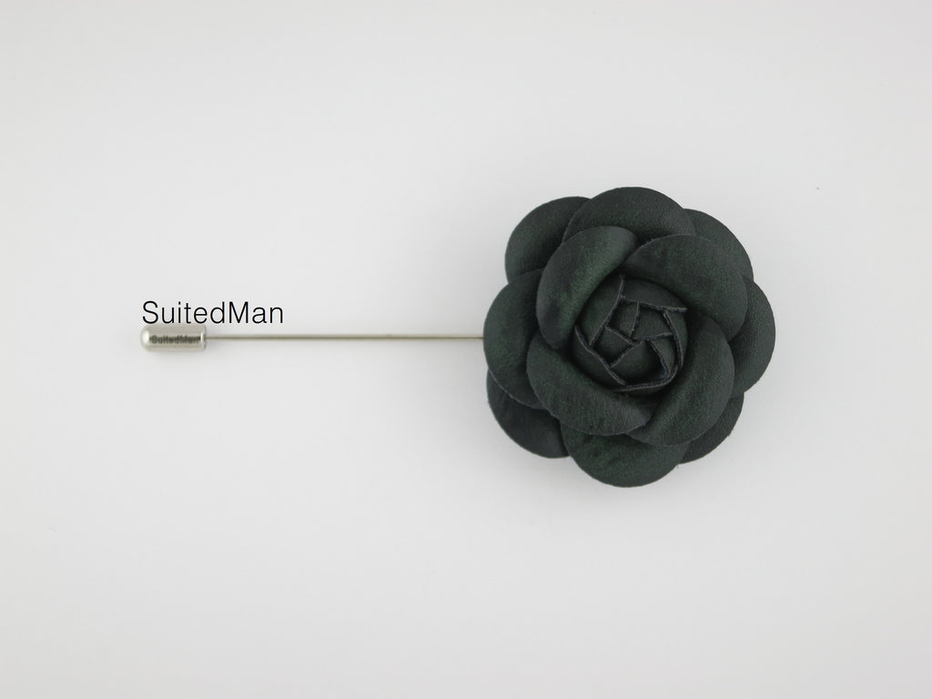 Lapel Flower, Leather Camellia, Forest Green - SuitedMan