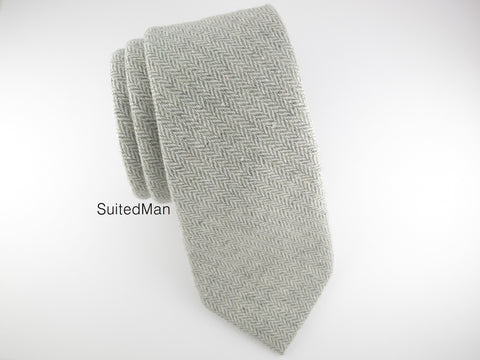 Tie, Wool, Heather Gray Herringbone