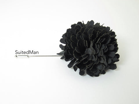 Lapel Flower, Ball, Black - SuitedMan