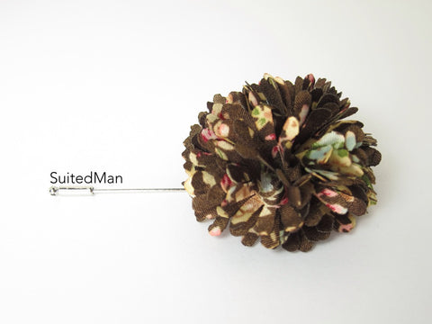 Lapel Flower, Ball, Brown/Pastel